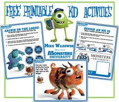 free printable monsters university activities free printables