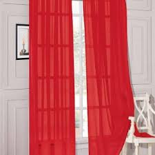 victorian style living room with pretty look red sheer curtains
