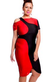 Red Cocktail Dress Plus Size Red Black Short Sleeves Cutout Pencil Style Plus Size Party Dress
