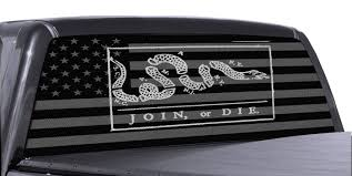 truck rear window join or die american flag perforated vinyl