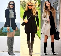collection of black dress boots in little black dress with