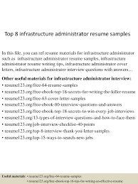 front desk receptionist sample resume latent print examiner sample resume best mind mapping tools online lab administrator cover letter front office receptionist sample top8infrastructureadministratorresumesamples 150516153800 lva1 app6891 thumbnail 4 lab