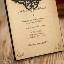 online shop black wedding invitations with retro gold inner sheet