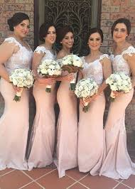 wedding dresses for of honor mermaid lace bridesmaid dresses pink shoulder court
