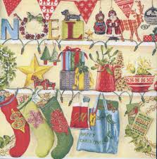 decoupage paper napkins of christmas stockings and decorations