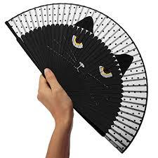 hand held folding fans katara decor black cat hand fan handheld folding animal wedding