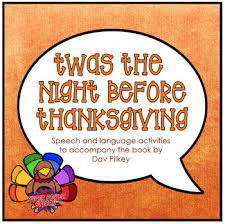 twas the before thanksgiving speech therapy book companion