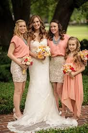 coral and gold bridesmaid dresses wedding fashion inspiration junebug weddings