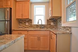 Glass Backsplash For Kitchen Kitchen Remodel With Natural Maple Cabinets Granite Countertops
