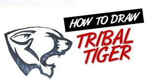 how to draw tribal tiger head tattoo design 8 youtube