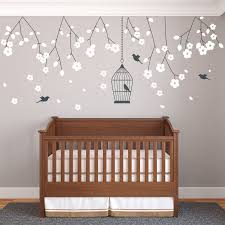 nursery wall decals wall decals wondrous baby room jungle wall full size of baby nursery beautiful white cherry blossom tree wall decal birdcage wall sticker