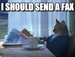 Fax Meme - i should send a fax one percent cat meme on memegen