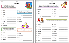 writing prefix and suffix worksheet sheet kids
