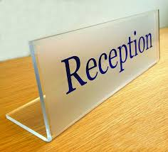Reception Desk Signs Acrylic Desk Sign Freestanding Buysigns
