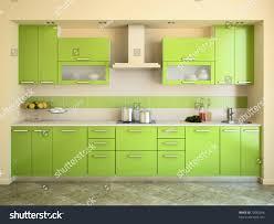 green kitchen designs modern green kitchen interior 3d render stock illustration