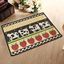 Apple Kitchen Rugs Yazi Country Style Cow Pattern Washable Fabric Kitchen Non Skid