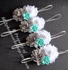 mint green headband gray white mint green baby girl headband shabby chiffon
