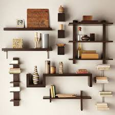 contemporary chosolate brown wooden wall bookcase for cd storage