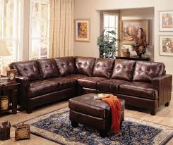 Leather Sofa With Studs by Sanders Old World Faux Leather U0026 Chenille Sofa Couch Sectional