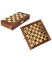 desi karigar brown wooden chess board set buy online at best