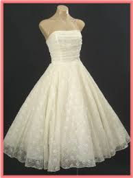 50 S Wedding Dresses 50 U0027s Ivory Strapless Tea Length Wedding Dress 50s Vintage New Look