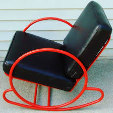 Red Rocking Chairs American Art Deco Red Enamelled Steel Rocking Chair And Companion