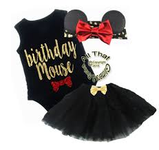 black red minnie mouse one year birthday tutu for baby