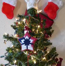 red white and blue star plastic canvas ornament patriotic