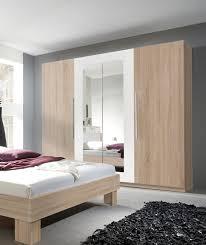 Schlafzimmer Komplett Eiche Sonoma Kleiderschrank Schrank 4 Türig Mit Spiegel 228cm Sonoma Eiche Hell