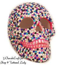 sugar skull pink skull gem skull handmade shop tattooed