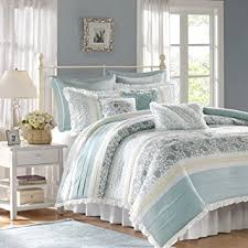 Shabby Chic Blue Bedding by Amazon Com Madison Park Dawn 9 Piece Cotton Percale Comforter