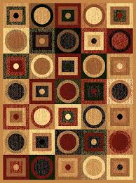 Modern Geometric Rugs Beige Green Black Modern Contemporary Assorted Circle Square