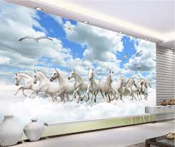online buy wholesale 3d wall murals horse wallpaper from china 3d custom mural photo 3d wallpaper the sky and the clouds are ten horses painting 3d wall
