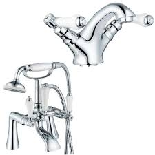 grand taps tm victorian chrome bathroom bath shower and basin grand taps tm victorian chrome bathroom bath shower and basin sink mixer tap set with shower attachment basin waste fittings easy fit flexi pipes swan