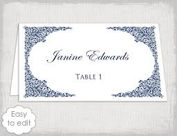 Design Your Own Place Cards Place Card Template With A Navy Lace Design For You To Make Your