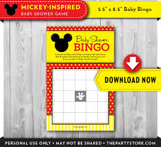 mouse baby shower bingo game