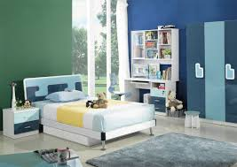 bedroom casual image of modern blue and white bedroom decoration