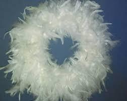white feather wreath etsy