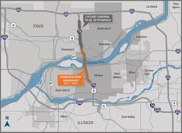 Moline Illinois Map by I 74 River Bridge About