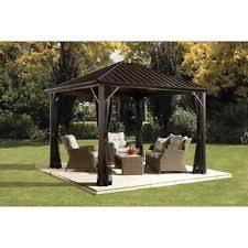 outdoor pergola retractable sliding canopy gazebo yard patio pool