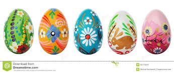 painted easter eggs painted easter eggs isolated on white patterns stock