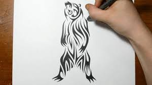 drawing a grizzly bear tribal tattoo design style youtube