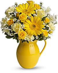 Vase Of Sunflowers Teleflora U0027s Sunny Day Pitcher Of Sunflowers Teleflora