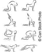 vector clip art of silhouettes of yoga in different poses