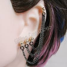 earring with chain to cartilage elfling update lots and lots of chain earrings
