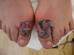 joker skull tattoos on toe