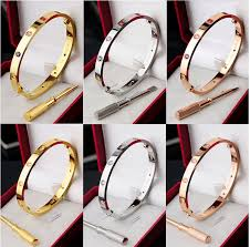 stainless steel love bracelet images Full of stone cartier love bracelet with screwdriver all colors 2 jpg