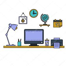 bureau equipement ligne plate vector illustration espace de travail avec ordinateur de