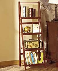 Book Or Magazine Ladder Shelf by Amazon Com Walnut Five Tier Leaning Ladder Book Shelf Kitchen