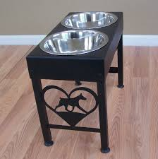 Wall Mount Pet Feeder Doberman Pinscher Metal Art Elevated Floor Stand Dog Feeder